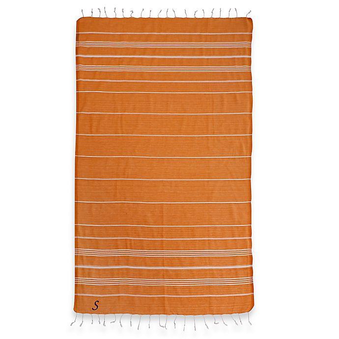 Alternate image 1 for Linum Home Textiles Lucky Monogram Script Letter Pestemal Beach Towel in Dark Orange