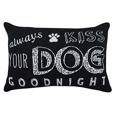 """Park B. Smith® Vintage House """"Always Kiss Your Dog Goodnight"""" Oblong Throw Pillow in Black/White"""