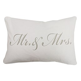 """Park B. Smith® The Vintage House """"Mr. & Mrs."""" Script Oblong Throw Pillow in White/Grey"""