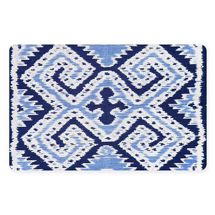Alternate image 1 for The Softer Side by Weather Guard™ 18-Inch x 27-Inch Ikat Wrap Kitchen Mat in Blue