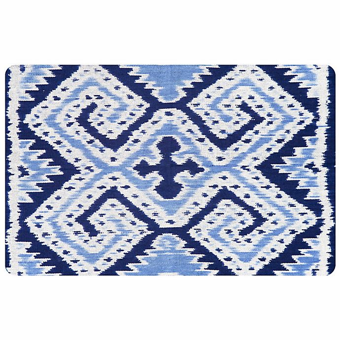 Alternate image 1 for The Softer Side by Weather Guard™ 23-Inch x 36-Inch Ikat Wrap Kitchen Mat in Blue