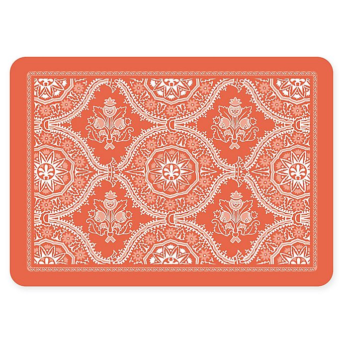 Alternate image 1 for The Softer Side by Weather Guard™ 18-Inch x 27-Inch Deep Floral Kitchen Mat in Coral