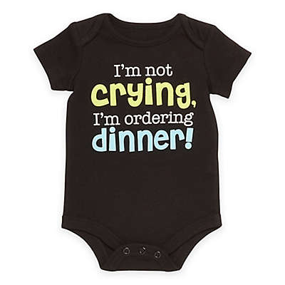 "Baby Starters® Babies with Attitude ""Ordering Dinner"" Short Sleeve Bodysuit in Black"