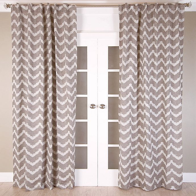 Alternate image 1 for Chevron Jacquard 84-Inch Rod Pocket/Back Tab Window Curtain Panel in Brown/Ivory
