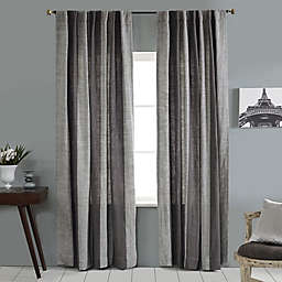 Linen Stripe Vertical Stripe Rod Pocket/Back Tab Window Curtain Panel in Grey/Ivory
