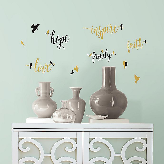 Alternate image 1 for Inspirational Words with Birds Peel and Stick Wall Decals
