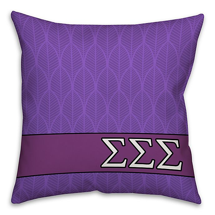 Alternate image 1 for Sigma Sigma Sigma Greek Sorority 16-Inch Throw Pillow in Purple