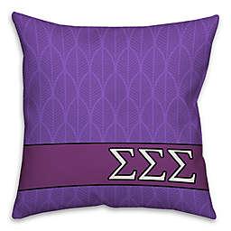 Sigma Sigma Sigma Greek Sorority 16-Inch Throw Pillow in Purple