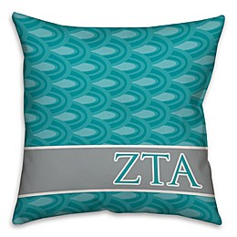 Zeta Tau Alpha Greek Sorority 16-Inch Throw Pillow in Teal