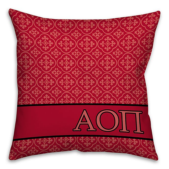 Alternate image 1 for Alpha Omicron Pi Greek Sorority 16-Inch Throw Pillow in Red