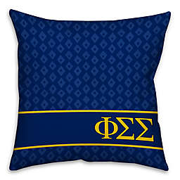 Phi Sigma Sigma Greek Sorority 16-Inch Throw Pillow in Blue