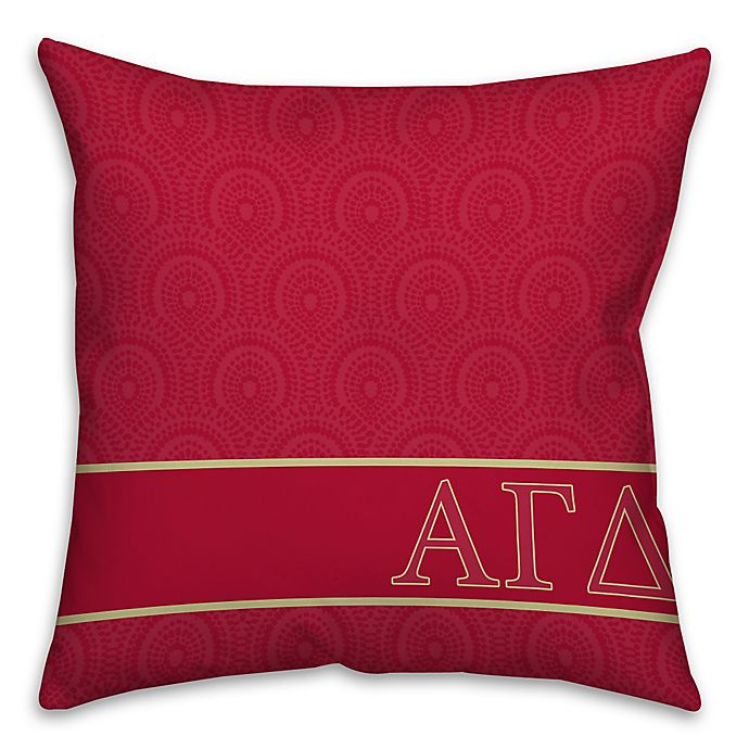 Alternate image 1 for Alpha Gamma Delta Greek Sorority 16-Inch Throw Pillow in Pink