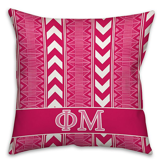 Alternate image 1 for Phi Mu Greek Sorority 16-Inch Throw Pillow in Pink
