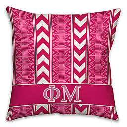 Phi Mu Greek Sorority 16-Inch Throw Pillow in Pink