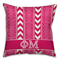 Phi Mu Greek Sorority 16-Inch Throw Pillow in Pink