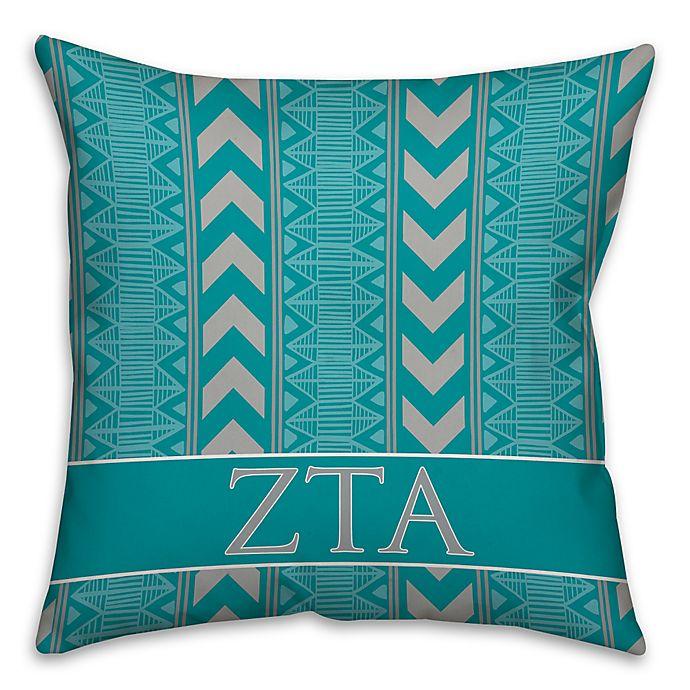 Alternate image 1 for Zeta Tau Alpha Greek Sorority 16-Inch Throw Pillow in Teal