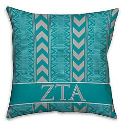 Zeta Tau Alpha Greek Sorority 16-Inch Throw Pillow in Teal