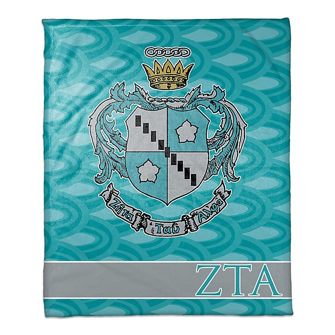 Alternate image 1 for Zeta Tau Alpha Greek Sorority Throw Blanket in Aqua