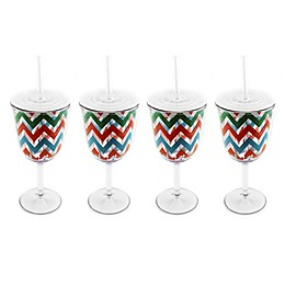 BergHOFF® Acrylic Wine Glasses with Chevron Pattern (Set of 4)