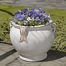 Campania Round Handle Planter in Antique White