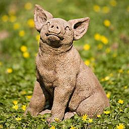 Campania Perky Pig Indoor/Outdoor Garden Statue in Brownstone