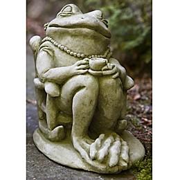 Campania Tea Frog Garden Statue in English Moss Green