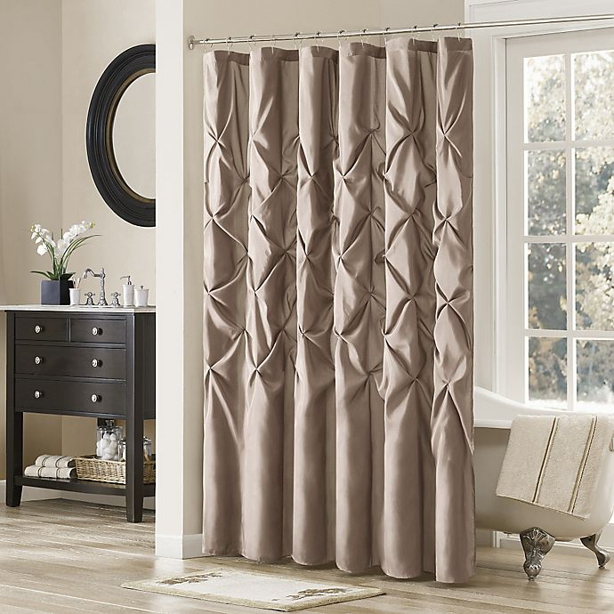 Madison Park Laurel Shower Curtain in Mushroom | Bed Bath & Beyond