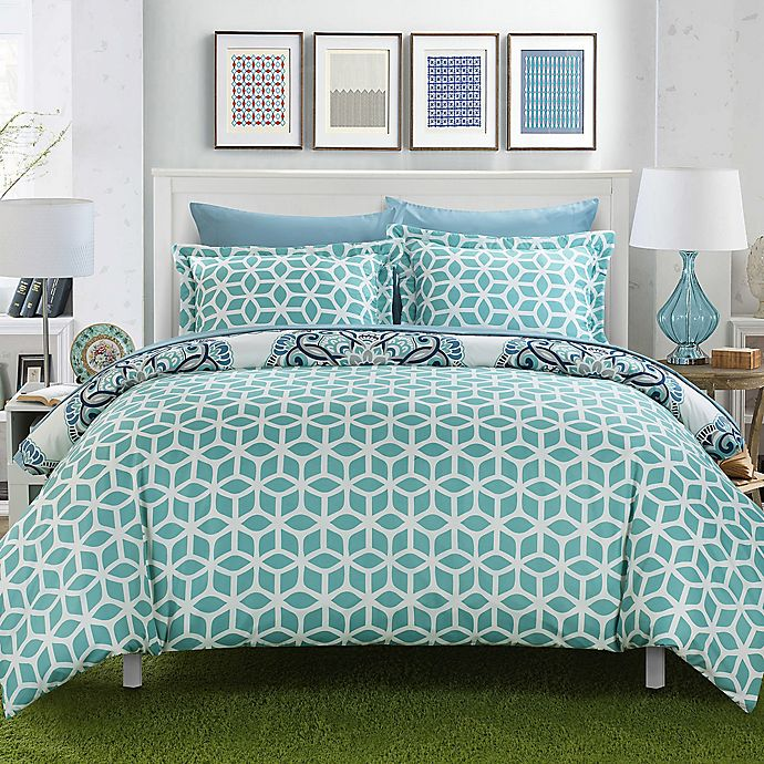 Alternate image 1 for Chic Home Majorca 3-Piece Reversible Full/Queen Duvet Cover Set in Green