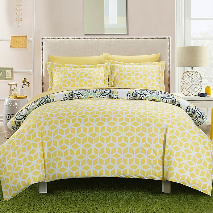 Alternate image 1 for Chic Home Majorca 3-Piece Reversible Full/Queen Duvet Cover Set in Yellow
