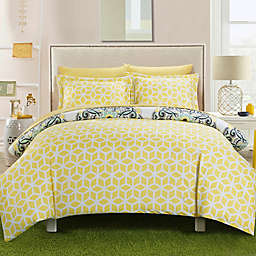 Chic Home Majorca 3-Piece Reversible Full/Queen Duvet Cover Set in Yellow