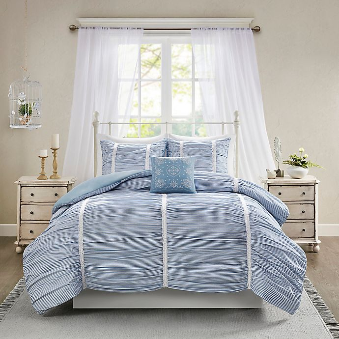 Alternate image 1 for Madison Park™ Ana 4-Piece Ruched Duvet Cover Set in Blue