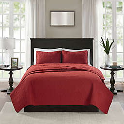 Madison Park Quebec 2-Piece Reversible Twin/Twin XL Coverlet Set in Red