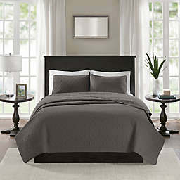 Madison Park Quebec 2-Piece Reversible Twin/Twin XL Coverlet Set in Dark Grey