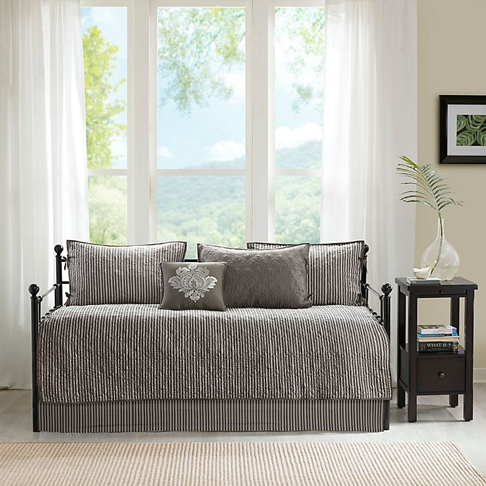 Alternate image 1 for Madison Park Quebec 6-Piece Reversible Daybed Cover Set in Dark Grey