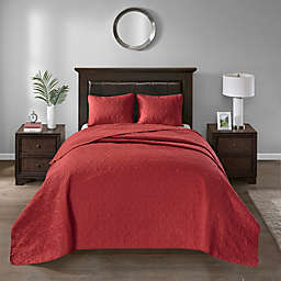 Madison Park Quebec 2-Piece Reversible Twin Bedspread Set in Red