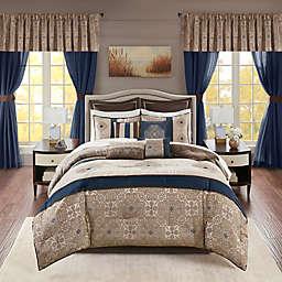 Madison Park Essentials Delaney 24-Piece California King Comforter Set in Navy
