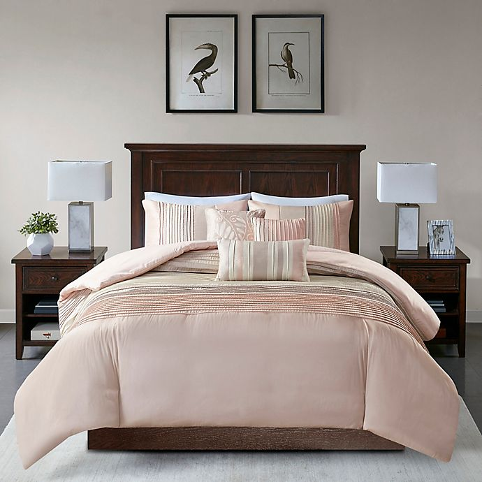 Alternate image 1 for Madison Park Amherst 6-Piece Duvet Cover Set in Blush/Taupe