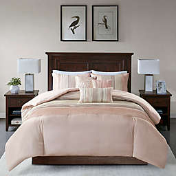 Madison Park Amherst 6-Piece Full/Queen Duvet Cover Set in Blush/Taupe