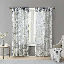Madison Park Simone 84-Inch Sheer Twisted Tab Top Window Curtain Panel in White