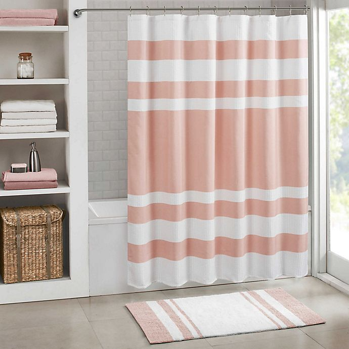 Alternate image 1 for Madison Park Spa Waffle Shower Curtain with 3M Treatment in Blush