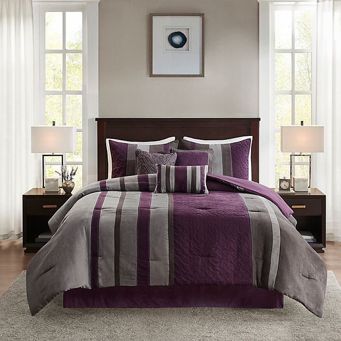 Alternate image 1 for Madison Park Kennedy 7-Piece Faux Suede Queen Comforter Set in Purple