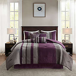 Madison Park Kennedy 7-Piece Faux Suede Queen Comforter Set in Purple