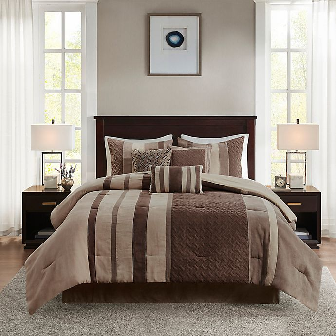 Alternate image 1 for Madison Park Kennedy 7-Piece Faux Suede King Comforter Set in Tan
