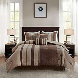Madison Park Kennedy 7-Piece Faux Suede King Comforter Set in Tan