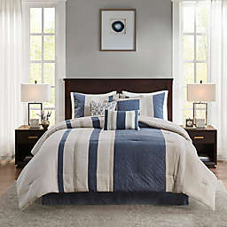 Madison Park Kennedy 7-Piece Faux Suede Queen Comforter Set in Blue