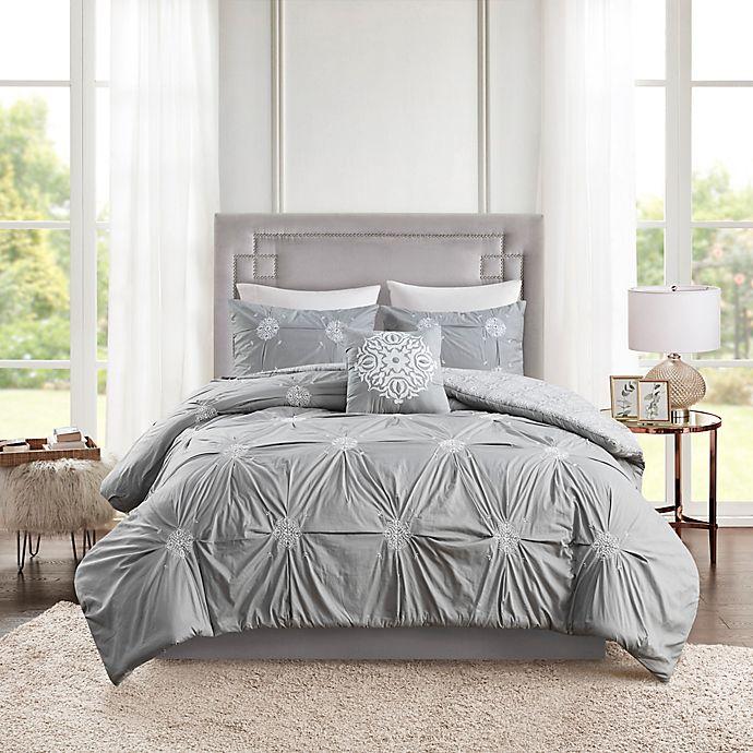 Alternate image 1 for Madison Park Malia 4-Piece Reversible Duvet Cover Set in Grey