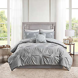 Madison Park Malia 4-Piece Reversible Duvet Cover Set in Grey