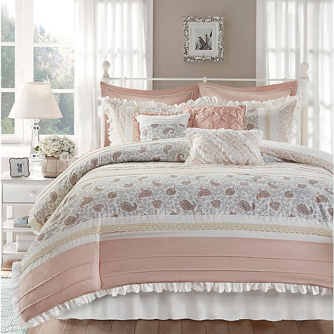 Alternate image 1 for Madison Park® Dawn 9-Piece Queen Duvet Cover Set in Blush