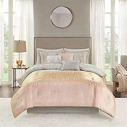 Madison Park Midnight Garden 7-Piece Reversible Queen Comforter Set in Blush