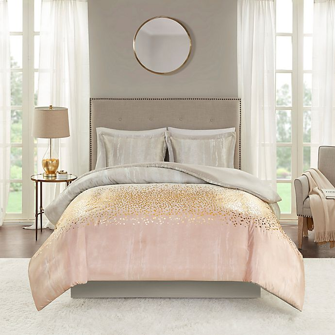 Alternate image 1 for Madison Park Midnight Garden 3-Piece Reversible Duvet Set in Blush